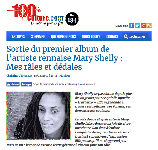 Interview de Mary Shelly sur 100% Culture (18 avril 2017)