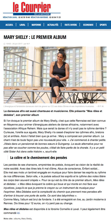 Article de presse de Mary Shelly dans Le Courrier de la Mayenne (25 juin 2017)