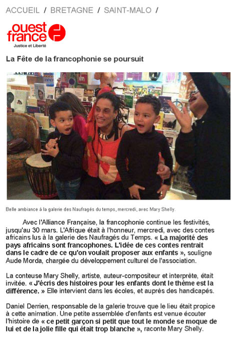 Artcle de Ouest-France : Mary Shelly... La Fête de la francophonie continue...